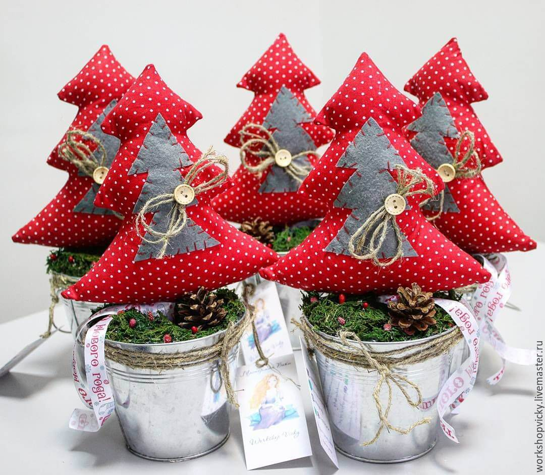 Christmas craft made with fabric and vases
