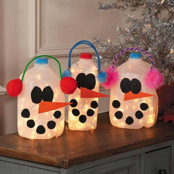 Handicraft christmas shape lamp bottles with happy faces