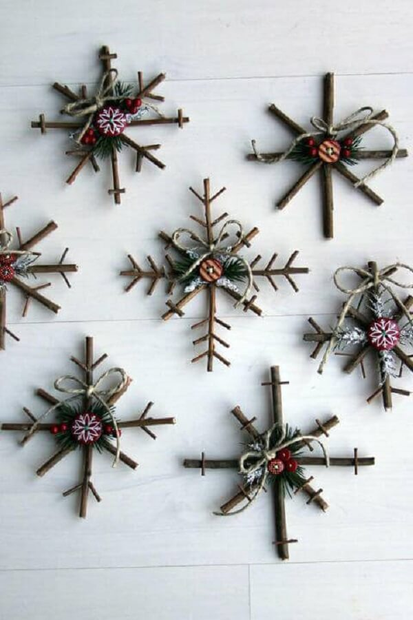 Christmas crafts with twigs and branches form representations of snowflakes