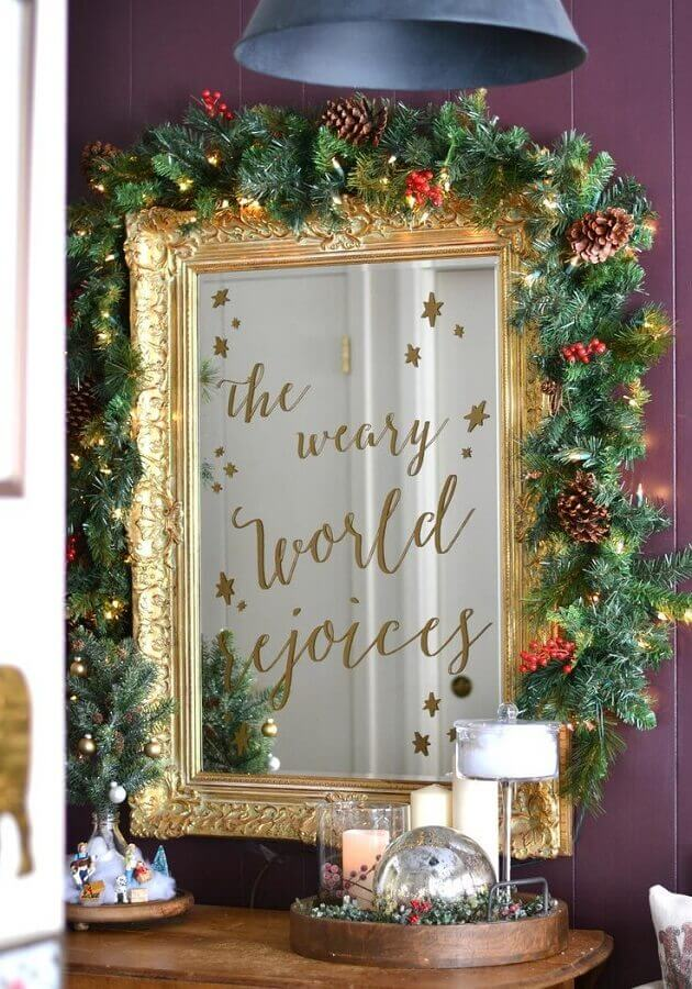 Christmas ornament with pinecone for golden mirror frame Photo Home Fashion Trend