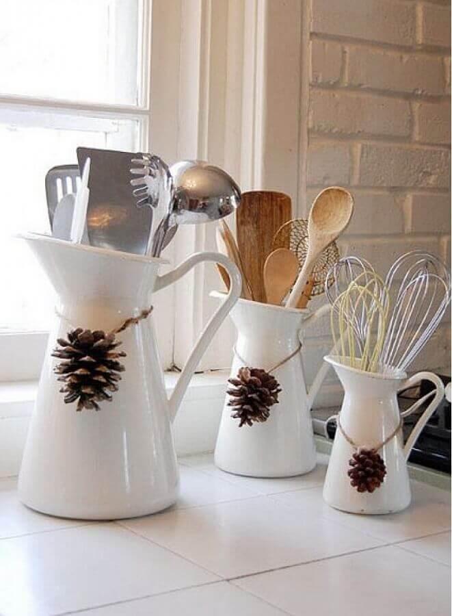 white vases decorated with Christmas pinecone Photo Round Decor