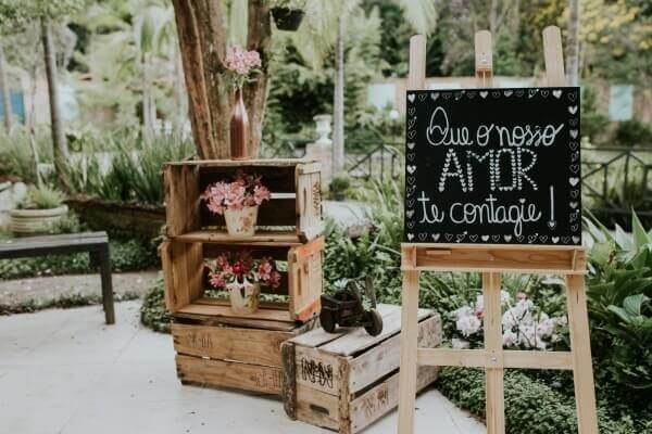 Decorative sign for wedding at the entrance of the event