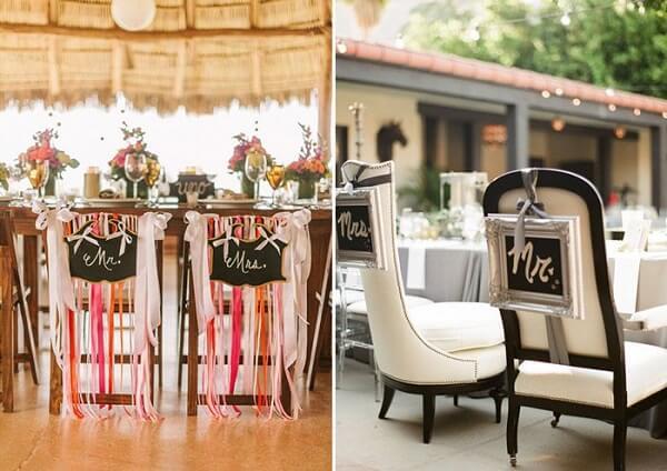 Creative Plaquinhas for the groom's chair