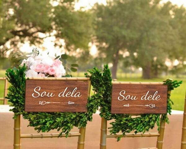 Wedding plaque for grooms chair made of wood