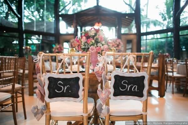 Simple wedding placecards for the grooms chair