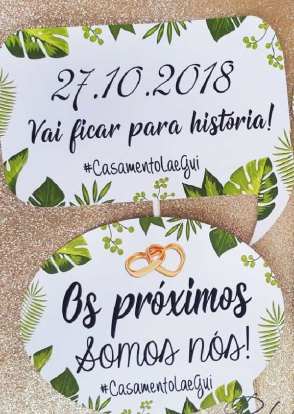 Wedding plaques with tropical background and fun phrases