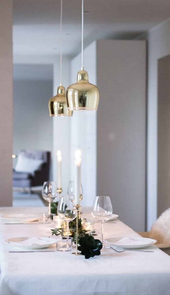 White tone can be present in different Christmas decorations for minimalist table