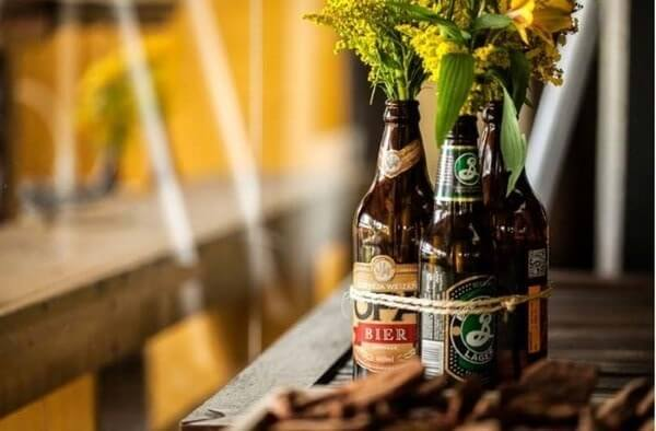 Pub party with bottles with flowers