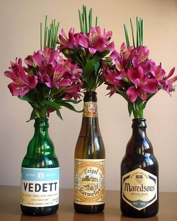 Bar party bottles with flowers
