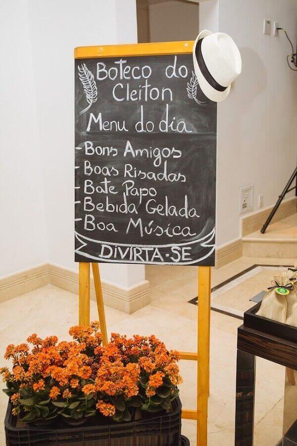 Bar party creative menu