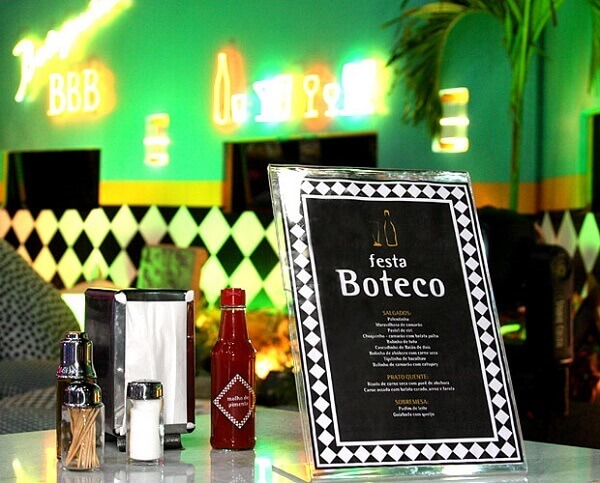 Party bar table decorated with menu