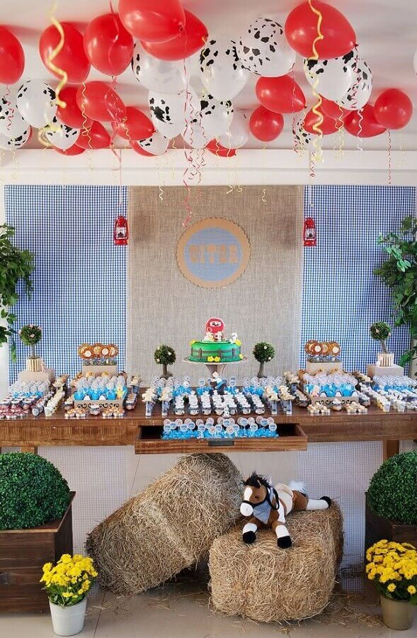 party of the little farm decorated with straw and bladders Photo Webcomunica