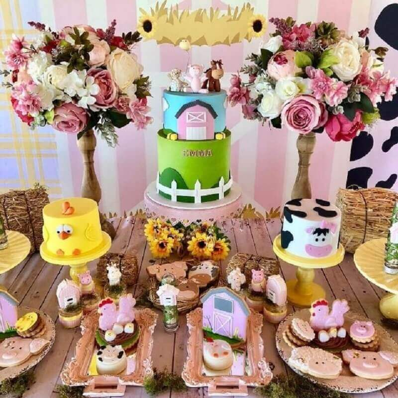 pink farmhouse party pink decorated with flower arrangement and different cakes Photo Invitations and Digital Arts