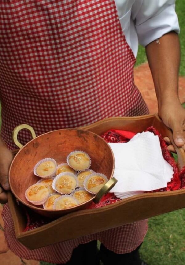 Use wooden trays to serve sweet and savory treats