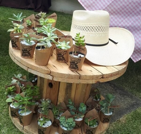 The wooden spool serves as a support for the souvenirs of the little farm party