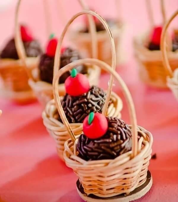 Stuffed basket of candy for small farm party